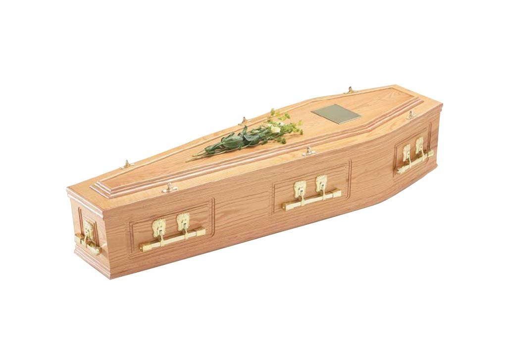 Solid Oak Pressed Panelled Coffin