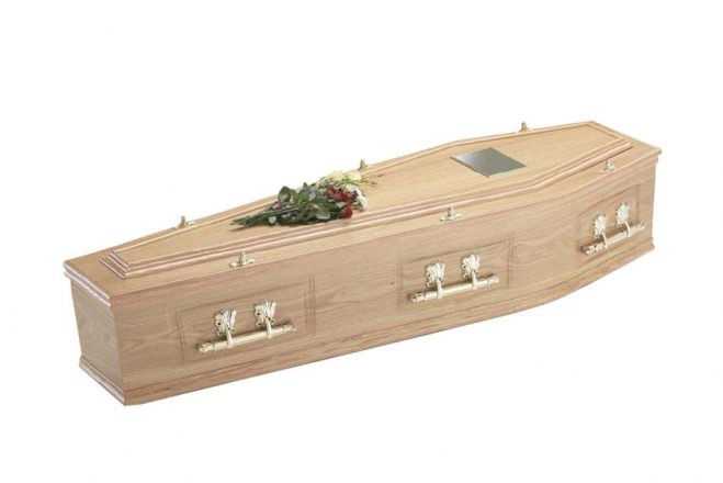 Venered Oak Pressed Panelled Coffin