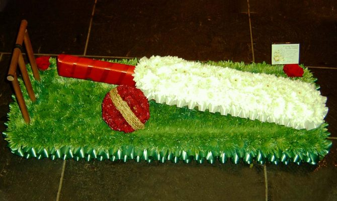 Cricket Bat Funeral Flowers