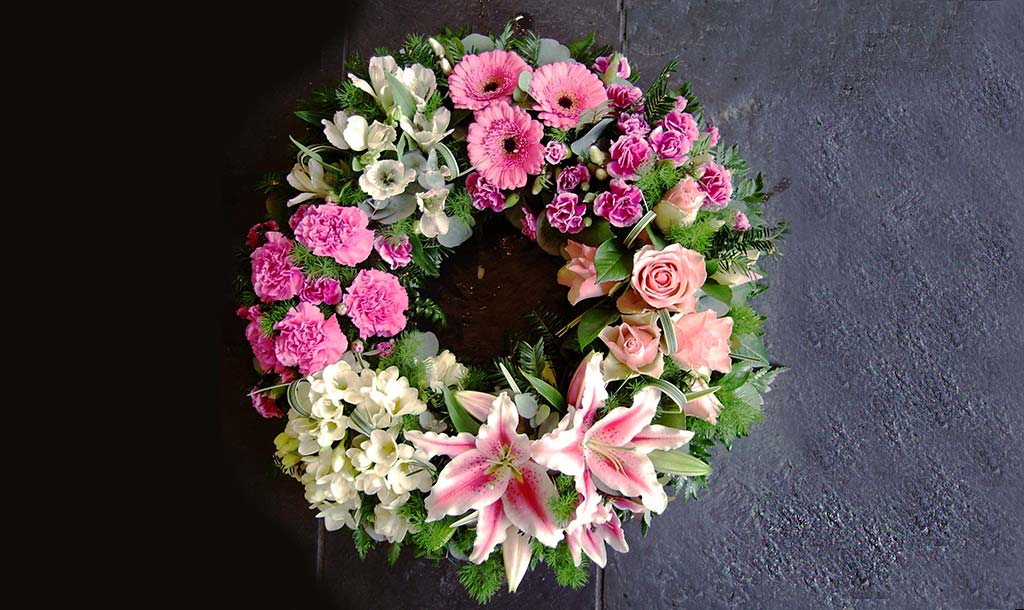 Rose and Lily Wreath Funeral Flowers