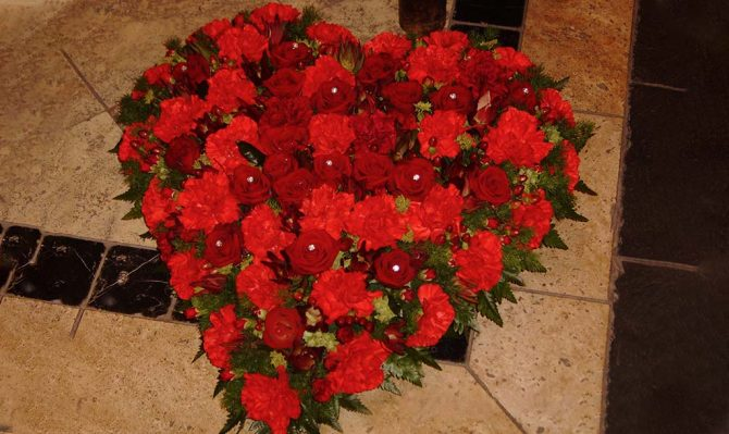 Rose Heart Funeral Flowers