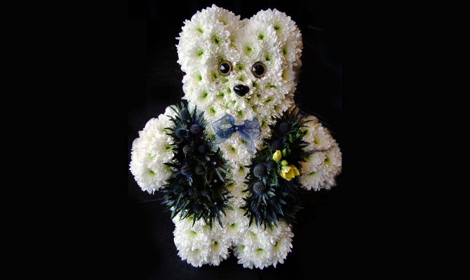 Teddy Bear Funeral Flowers