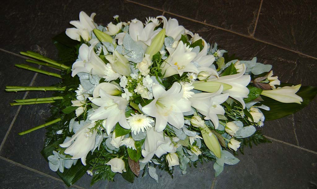 White Lily Spray Funeral Flowers
