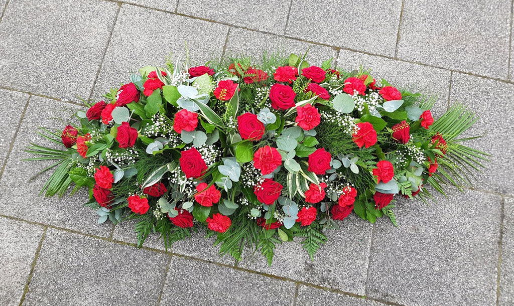 Red Rose Spray Funeral Flowers