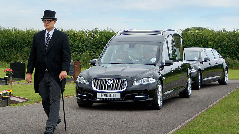 Hearse on the way to a Bristol funeral service